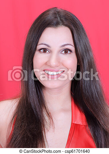 closeup . face of beautiful woman in red dress - csp61701640