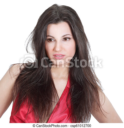 closeup. fashionable young woman in a red dress - csp61012700