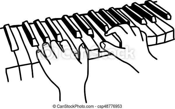 closeup hands playing the keyboard or piano vector clipart rh canstockphoto com
