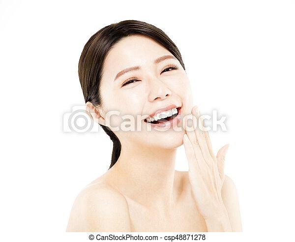 closeup happy young Woman beauty face - csp48871278