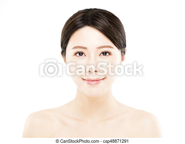 closeup happy young Woman beauty face - csp48871291