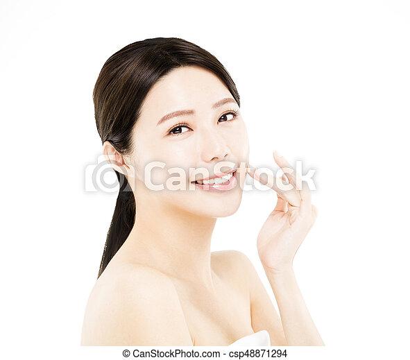 closeup happy young Woman beauty face - csp48871294
