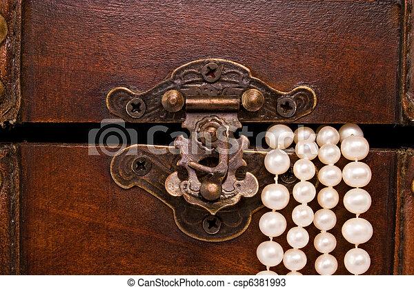 closeup jewellery box latch and pearls - csp6381993