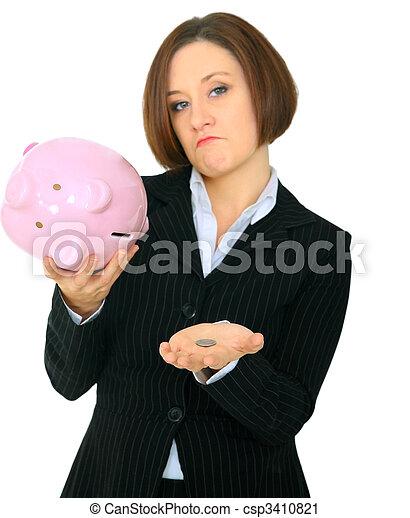 Closeup Money On Hand Of Poor Female Caucasian - csp3410821