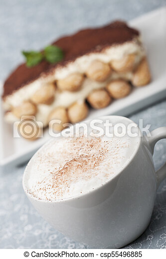 closeup of a cappuccino with tiramisu - csp55496885