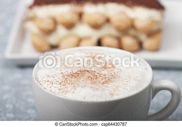 closeup of a cappuccino with tiramisu - csp64430787