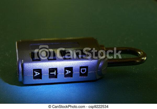 "closeup of a combination lock with ""data"" password - csp9222534"