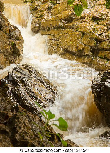 Closeup of a dirty waterfall - csp11344541