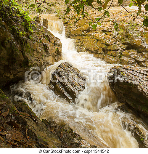 Closeup of a dirty waterfall - csp11344542