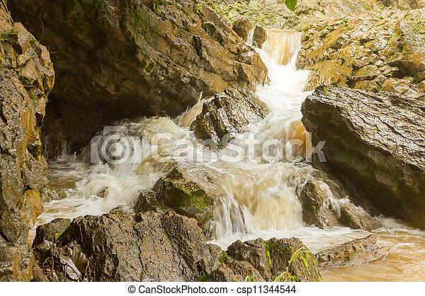Closeup of a dirty waterfall - csp11344544