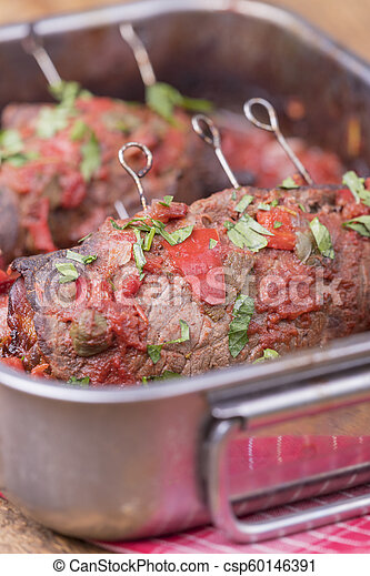 closeup of a german meat roulade - csp60146391