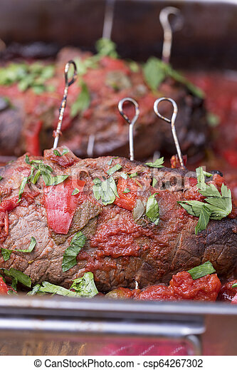 closeup of a german meat roulade - csp64267302