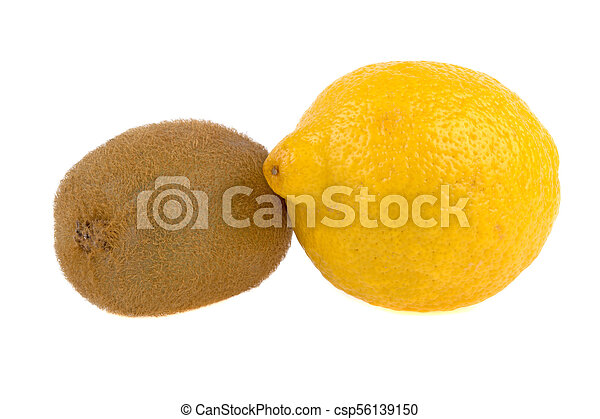closeup of a kiwi and lemon isolated on a white background - csp56139150