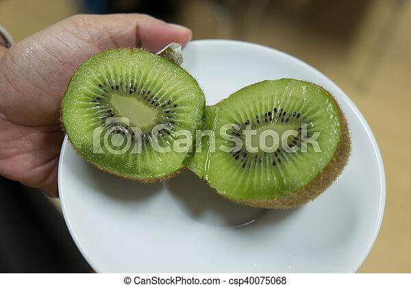 Closeup of a kiwi fruit - csp40075068
