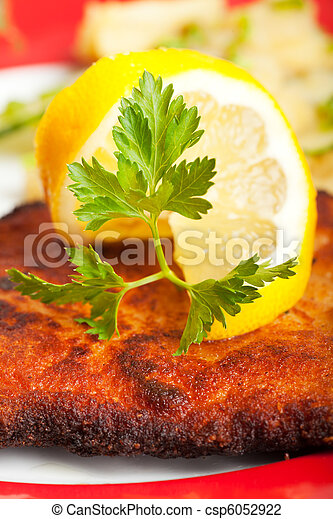 closeup of a lemon slice on a wiener schnitzel - csp6052922