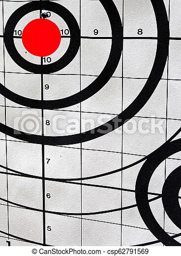 Closeup of a shooting target with an angle view - csp62791569