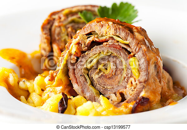 closeup of a stuffed roulade - csp13199577