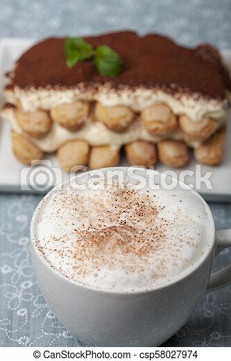 closeup of a tiramisu dessert - csp58027974