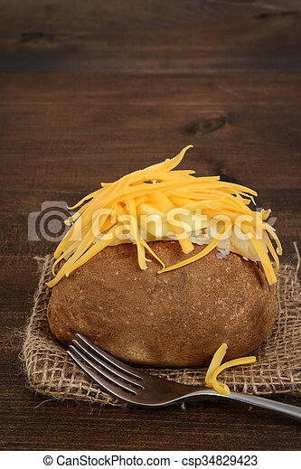 closeup of baked potato with butter - csp34829423