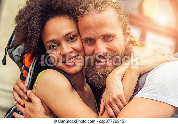 Closeup of beautiful couple of tourists in love - csp37776345
