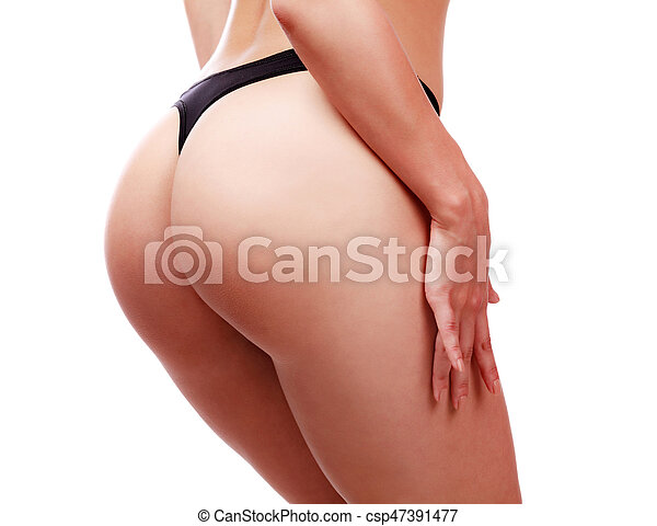 Closeup of beautiful woman buttocks in lingerie. Female ass in black panties. Isolated on white background - csp47391477
