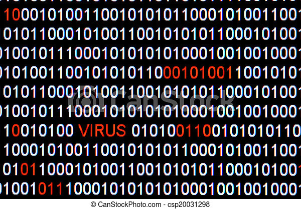 Closeup of binary code infected by computer virus. - csp20031298