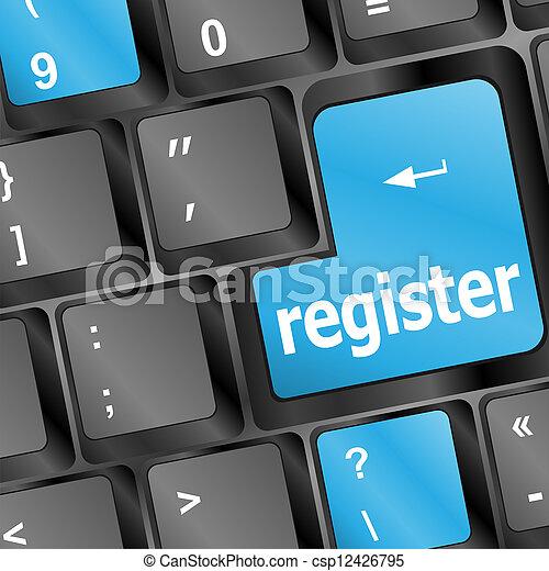 Closeup of blue register key in a modern computer keyboard - csp12426795