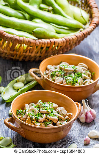 Closeup of broad beans served with parsley - csp16844888