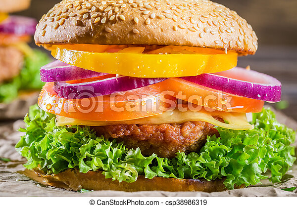 Closeup of burger made from vegetables - csp38986319