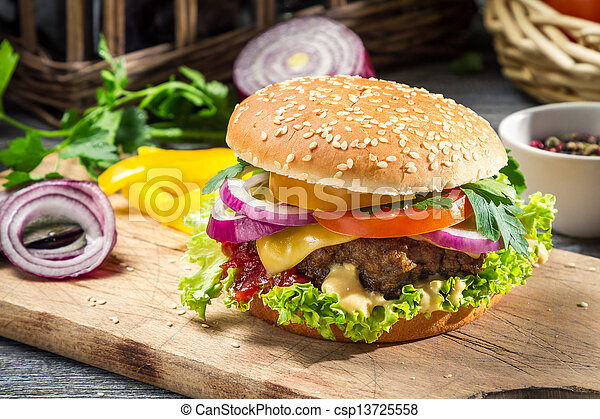 Closeup of burger made from vegetables - csp13725558