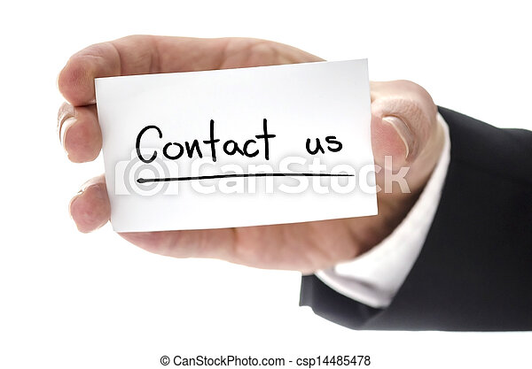 Closeup of business man hand holding business card with Contact us written on it. Isolated over white background. - csp14485478
