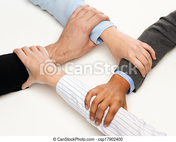 closeup of businesspeople hands united - csp17902400