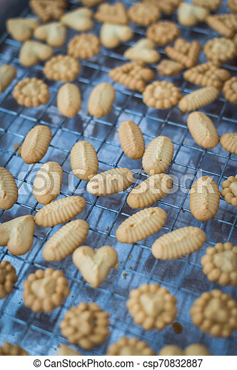 Closeup of butter cookie on a grate - csp70832887