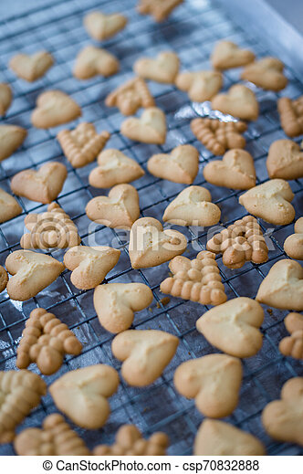 Closeup of butter cookie on a grate - csp70832888