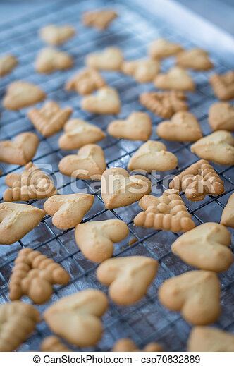 Closeup of butter cookie on a grate - csp70832889