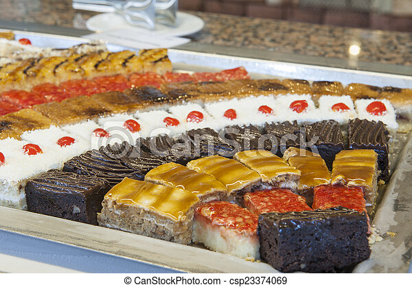 Closeup of cakes on a tray - csp23374069