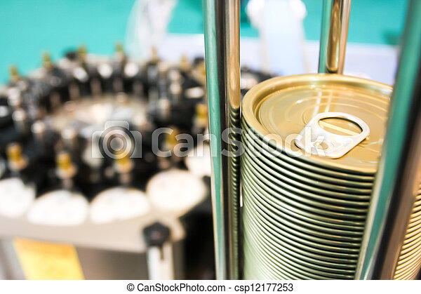 Closeup of can lids in the canning factory - csp12177253