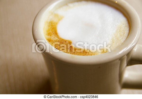 Closeup of cappuccino froth, from above - csp4023846