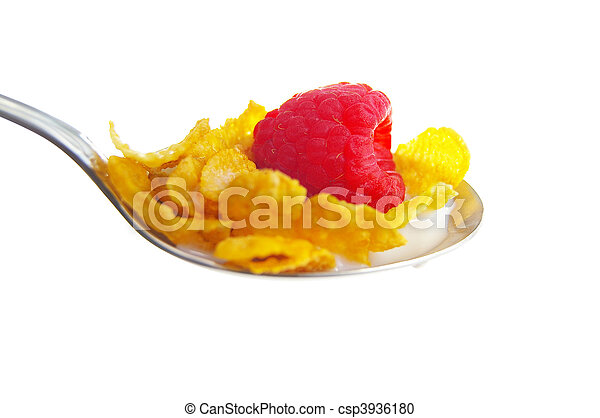 closeup of cereal and a raspberry in milk - csp3936180