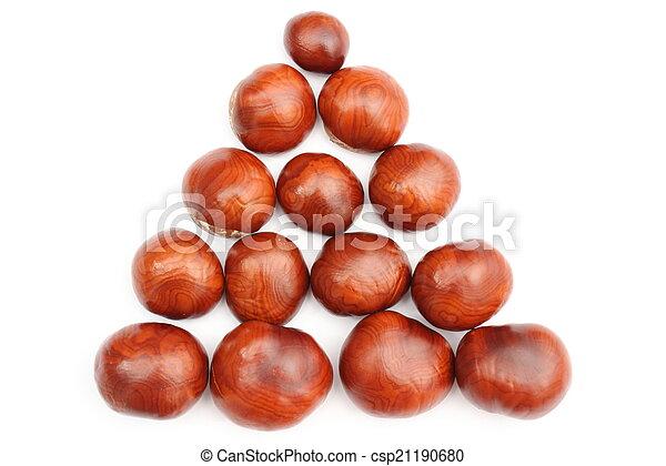 Closeup of chestnut on white background - csp21190680