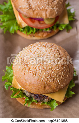 Closeup of classic burger - csp26101888