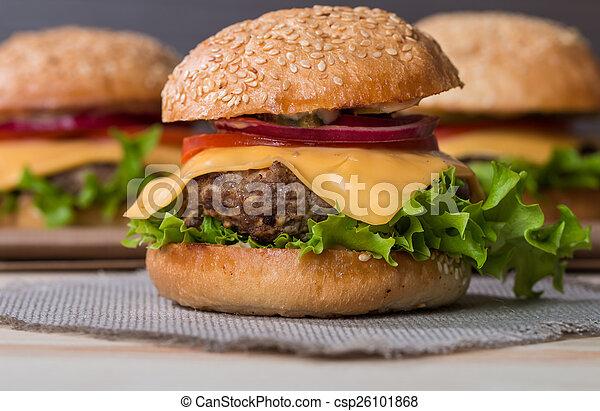 Closeup of classic burger - csp26101868