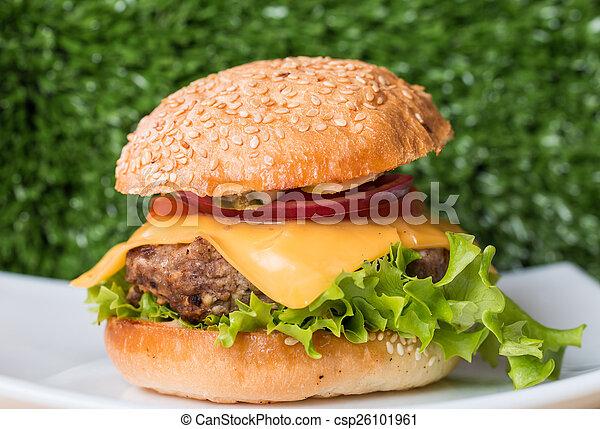 Closeup of classic burger - csp26101961
