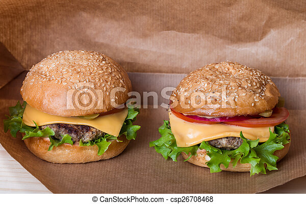 Closeup of classic burger - csp26708468