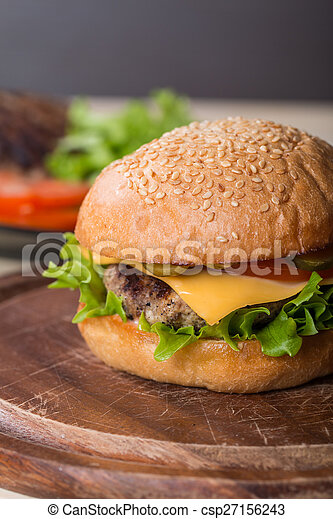 Closeup of classic burger - csp27156243