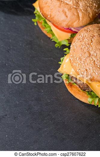 Closeup of classic burger - csp27607622