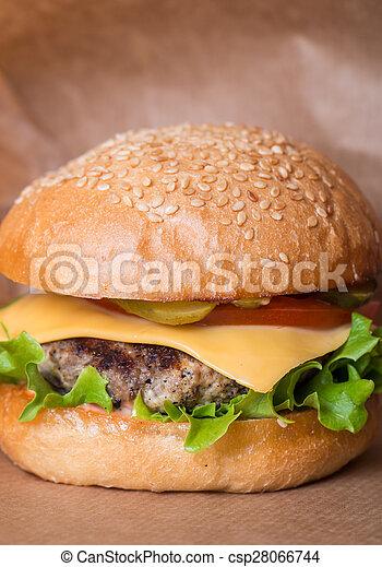 Closeup of classic burger - csp28066744