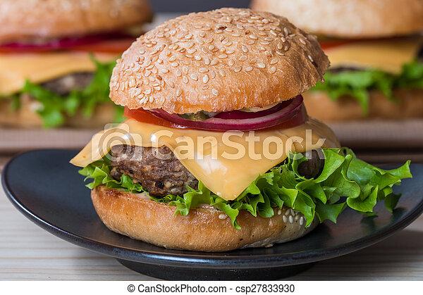 Closeup of classic burger - csp27833930