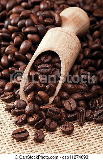 Closeup of coffee beans - csp11274693