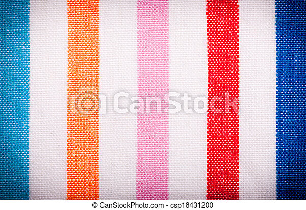 Closeup of colorful striped textile as background or texture - csp18431200